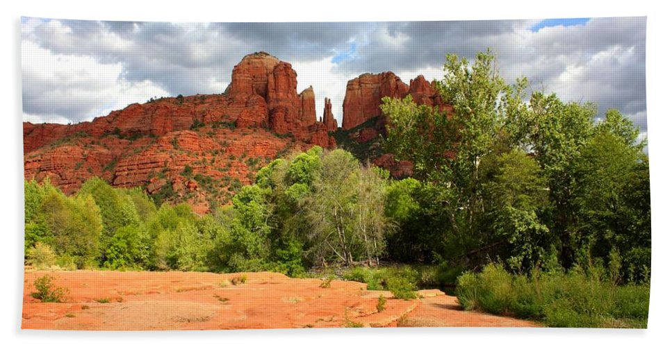 Sedona Beach Towel featuring the photograph Balance At Cathedral Rock by Carol Groenen