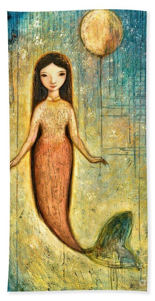 Mermaid Art Beach Towel featuring the painting Balance by Shijun Munns