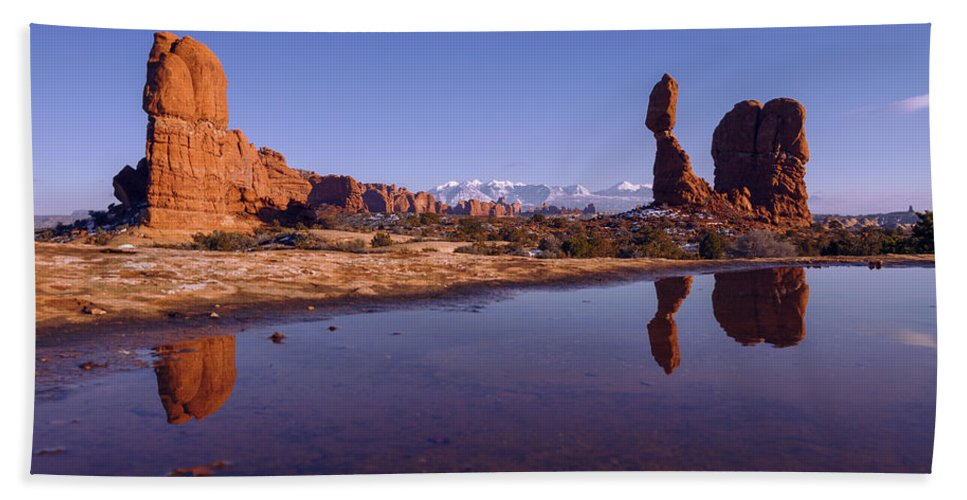 Arches Beach Towel featuring the photograph Balanced Reflection by Chad Dutson