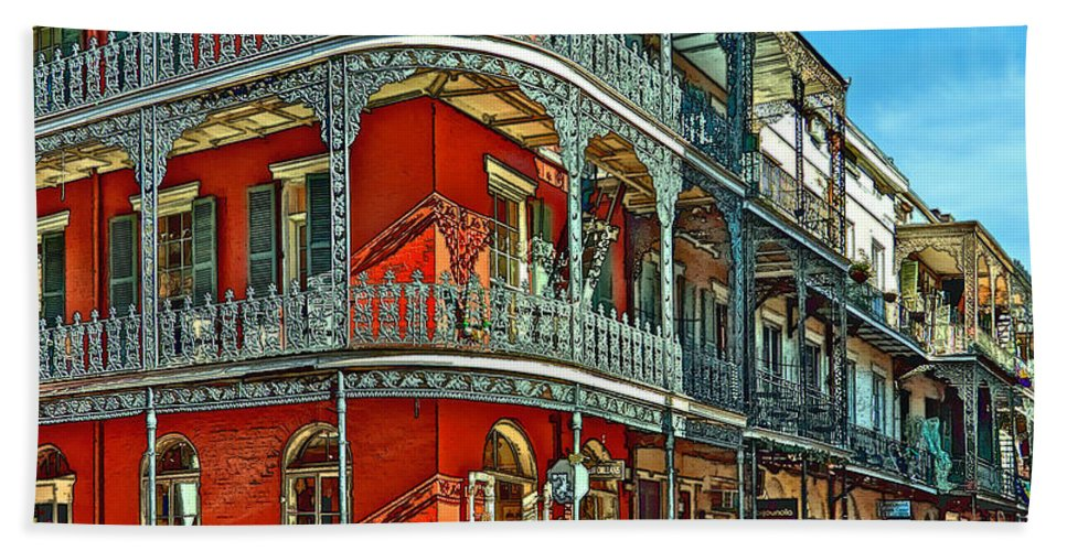 French Quarter Beach Towel featuring the photograph Balconies Painted by Steve Harrington