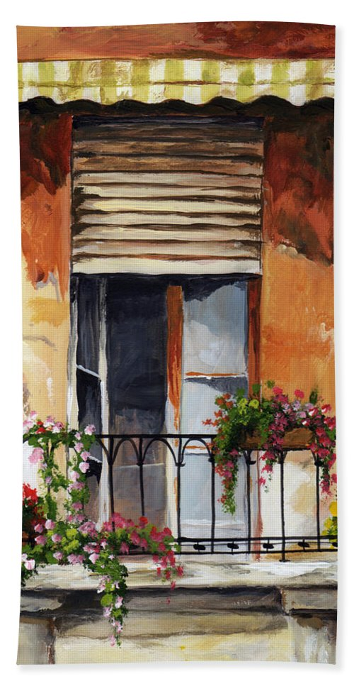 Balcony Beach Towel featuring the painting Balcony Of Ancona by Voros Edit