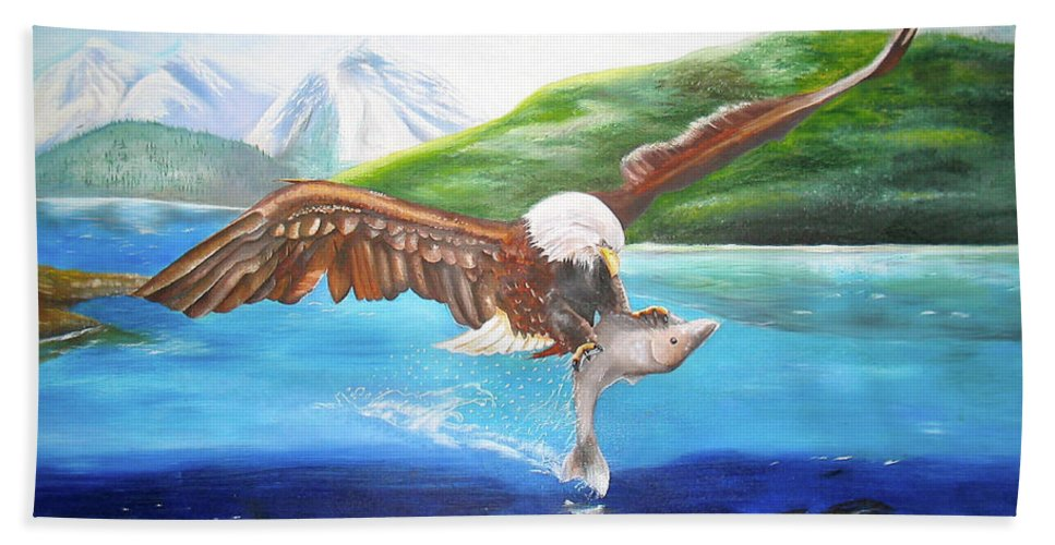 Eagle Beach Towel featuring the painting Bald Eagle Having Dinner by Thomas J Herring