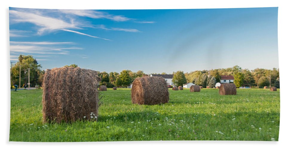 Guy Whiteley Photography Beach Towel featuring the photograph Bales 3d21646 by Guy Whiteley