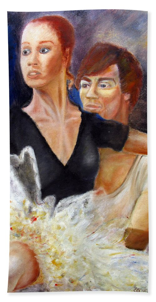 Ballet Beach Towel featuring the painting Ballet Dancers rehearse for La Bayadere by Tom Conway