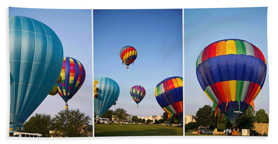 Hot Beach Towel featuring the photograph Balloon Festival Panels by Betsy Knapp