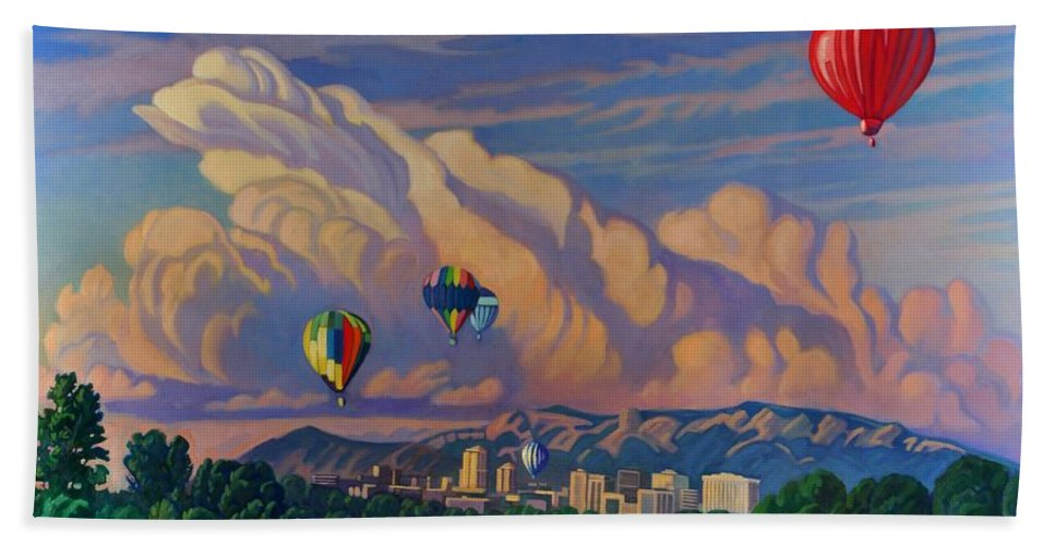 Taos Beach Towel featuring the painting Ballooning On The Rio Grande by Art James West