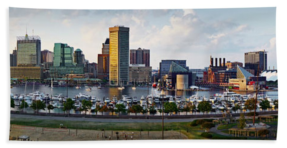 Baltimore Skyline Beach Towel featuring the photograph Baltimore Harbor Skyline Panorama by Susan Candelario