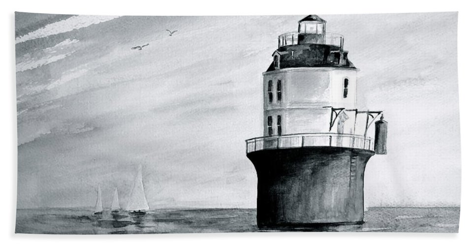 Baltimore Lighthouse Beach Towel featuring the painting Baltimore Lighthouse In Gray by Nancy Patterson