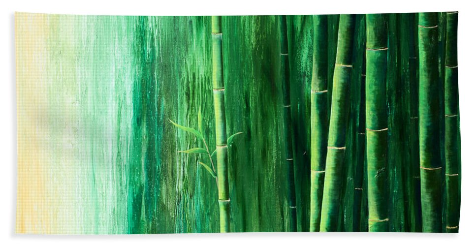 Bamboo Beach Towel featuring the painting Bamboo Forest by Amani Hanson