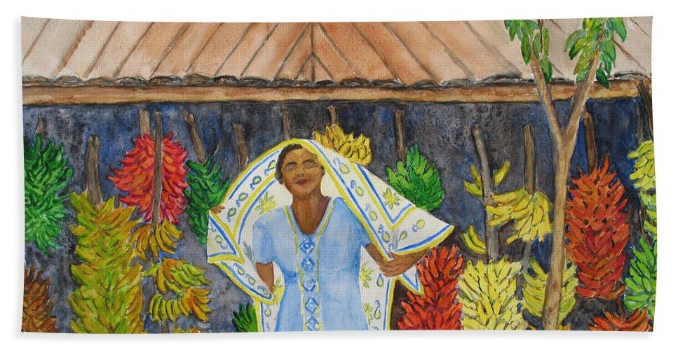 Banana Vendor Beach Towel featuring the painting Banana Vendor by Patricia Beebe