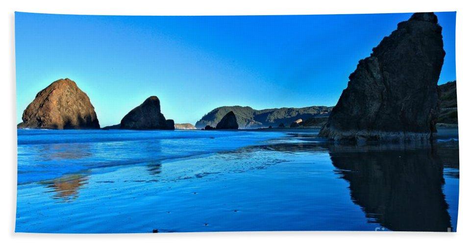 Bandon Beach Beach Towel featuring the photograph Bandon Blue by Adam Jewell