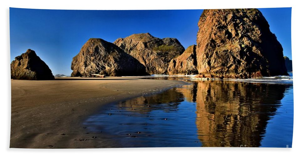 Bandon Beach Beach Towel featuring the photograph Bandon Low Tide Reflections by Adam Jewell