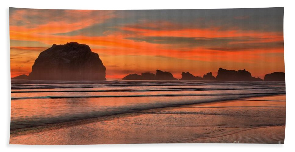 Bandon Beach Beach Towel featuring the photograph Bandon Sunset And Surf by Adam Jewell