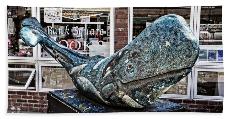 Bank Square Books Whale Beach Towel featuring the photograph Bank Square Books Whale by Alice Gipson