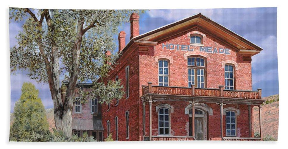 Montana Beach Towel featuring the painting Bannock-montana-hotel Meade by Guido Borelli