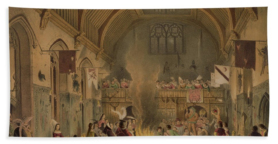 Medieval Beach Towel featuring the drawing Banquet In The Baronial Hall, Penshurst by Joseph Nash