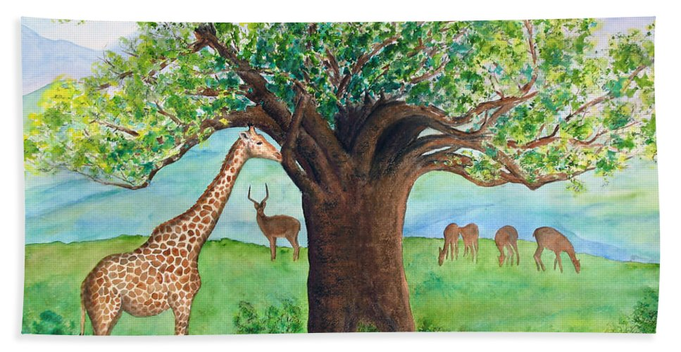 Baobab Tree Beach Towel featuring the painting Baobab And Giraffe by Patricia Beebe