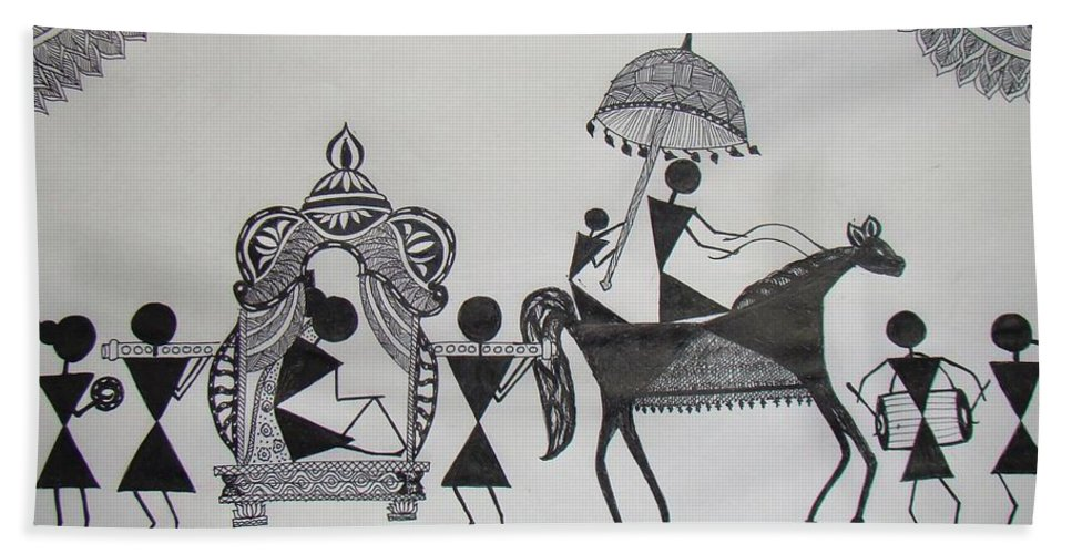 Warli Beach Towel featuring the painting Baraat - The Wedding Procession by Sachin Raverkar