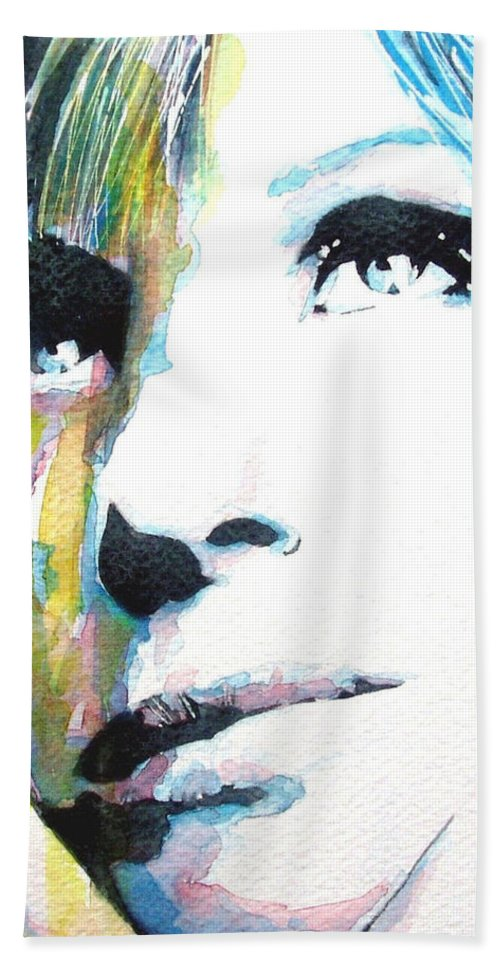 The Wonderful Barbara Streisand Caught In Waterrcolor Beach Towel featuring the painting Barbra Streisand by Paul Lovering