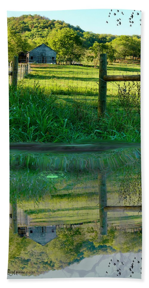 Barn Beach Towel featuring the photograph Barn And Fence by Ericamaxine Price