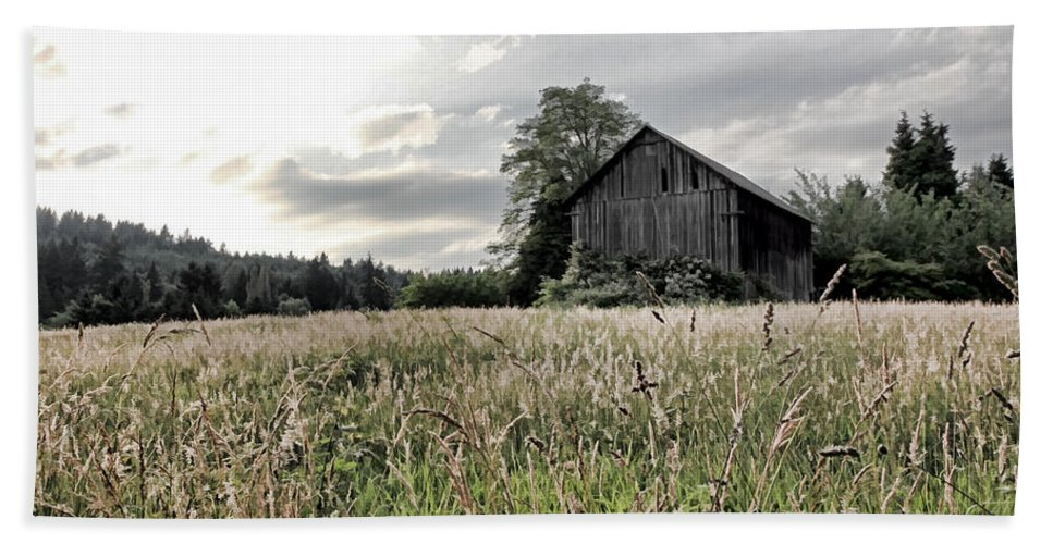 Barn Beach Towel featuring the photograph Barn And Grass by Athena Mckinzie