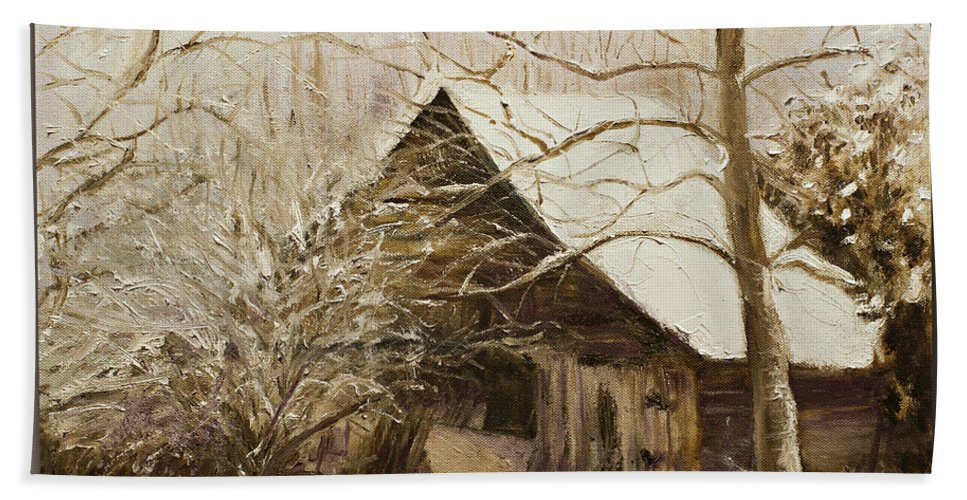 Barn Landscape Snow Beach Towel featuring the painting Barn In Snow by Kathy Knopp
