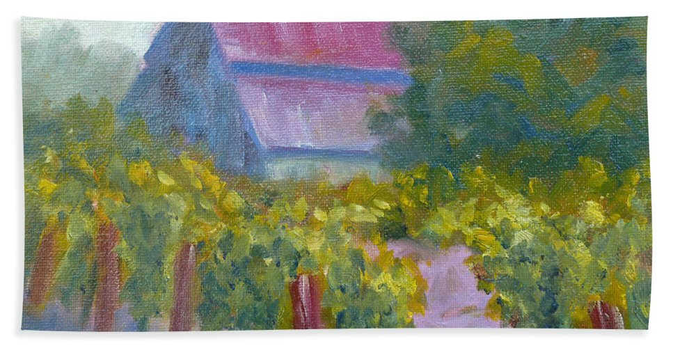 Winery Beach Towel featuring the painting Barn In Vineyard by Carolyn Jarvis