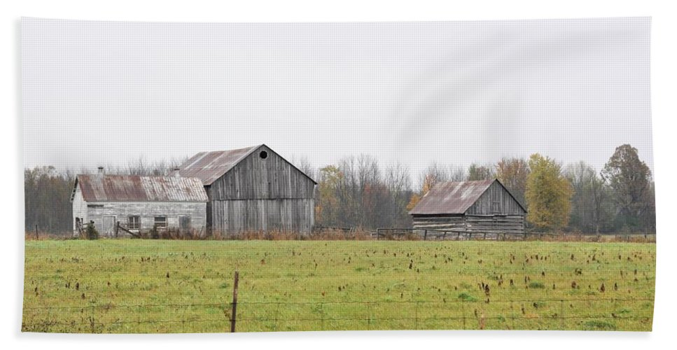 Barn Beach Towel featuring the photograph Barns In The Mist by Valerie Kirkwood
