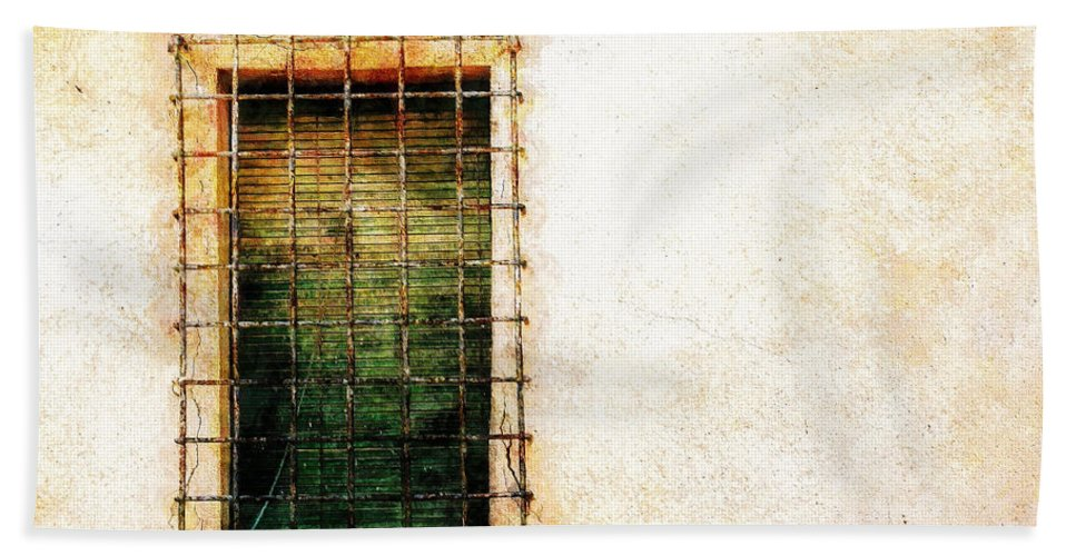 Barred Beach Towel featuring the painting Barred Window by Sandy MacGowan