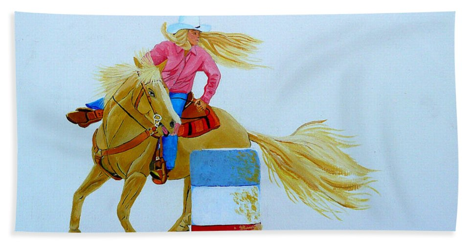 Rodeo Beach Towel featuring the painting Barrel Racer by Anthony Dunphy
