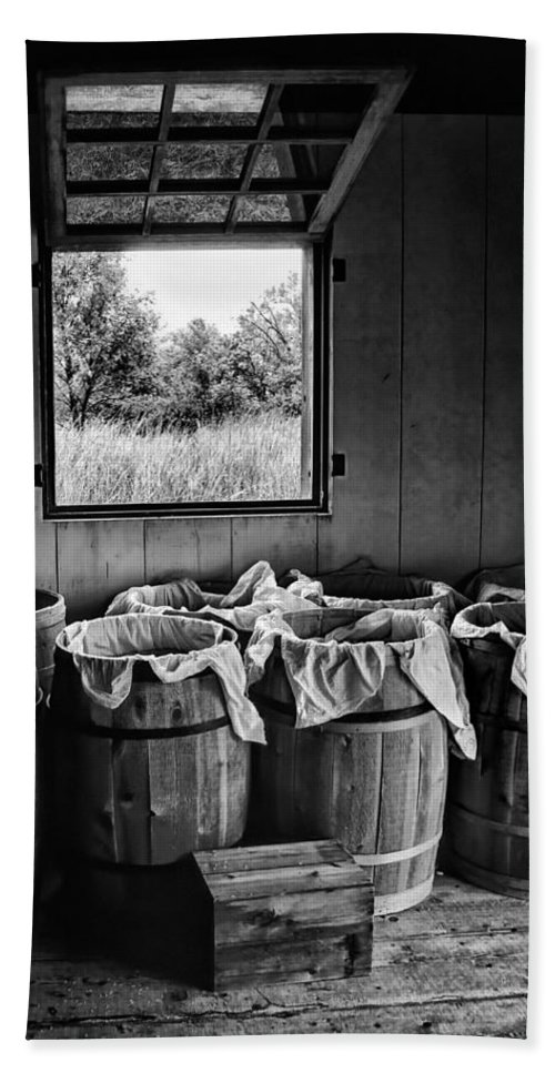 Barrel Beach Towel featuring the photograph Barrels Of Beans - Bw by Nikolyn McDonald