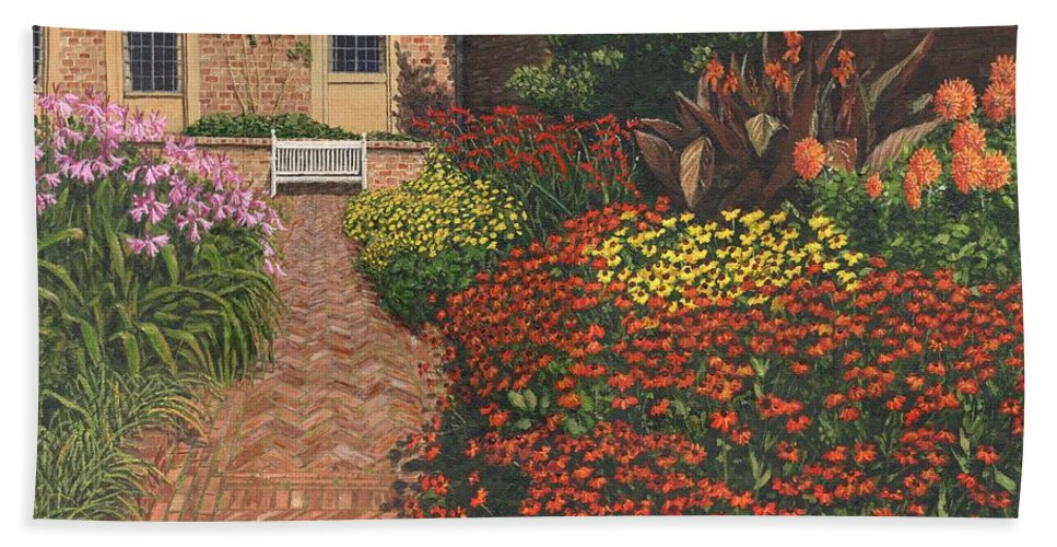 Landscape Beach Towel featuring the painting Barrington Court Gardens Somerset by Richard Harpum