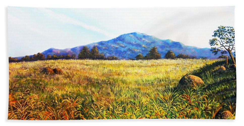 Landscape Beach Towel featuring the painting Baru Descansa by Ricardo Sanchez Beitia
