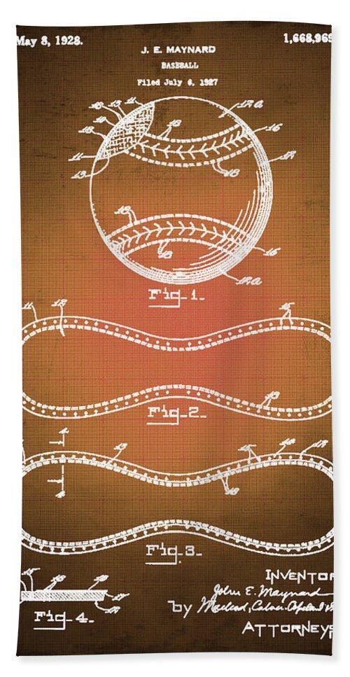 Baseball Beach Towel featuring the drawing Baseball Patent Blueprint Drawing Sepia by Tony Rubino