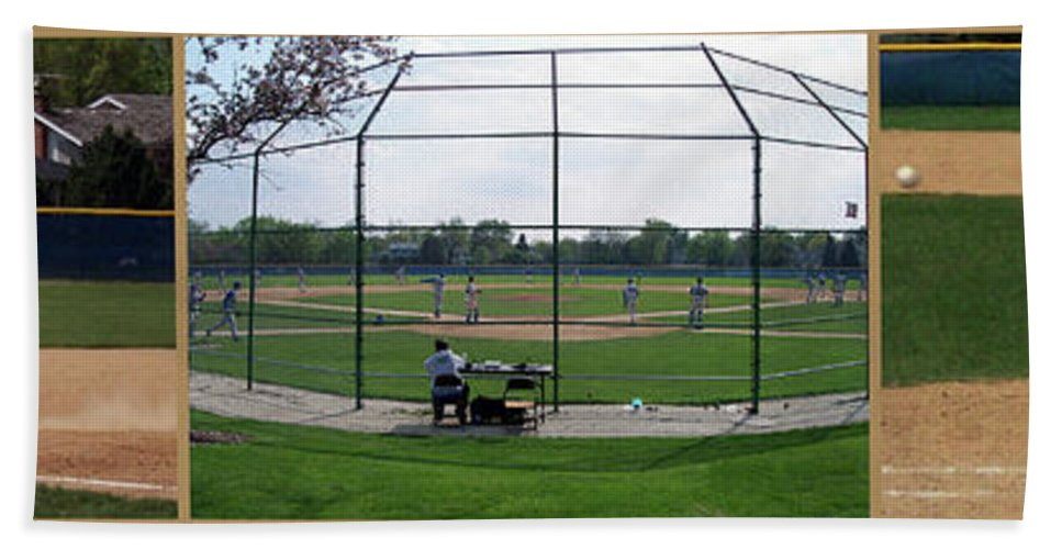 Composite Beach Towel featuring the photograph Baseball Playing Hard 3 Panel Composite 01 by Thomas Woolworth