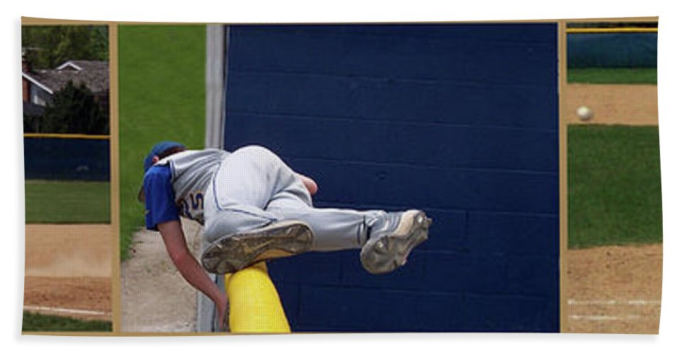 Composite Beach Towel featuring the photograph Baseball Playing Hard 3 Panel Composite 02 by Thomas Woolworth