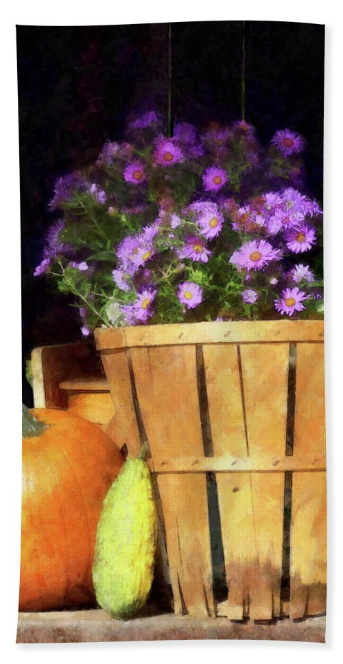 Autumn Beach Towel featuring the photograph Basket Of Asters With Pumpkin And Gourd by Susan Savad