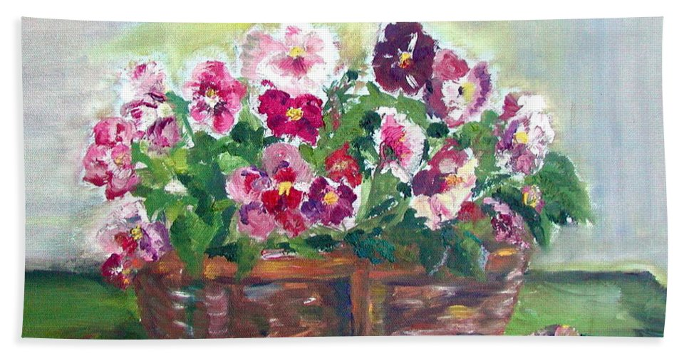 Pansies Beach Towel featuring the painting Basket Of Pansies by Anna Ruzsan