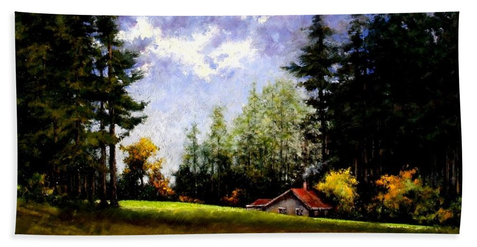Landscape Beach Towel featuring the painting Battle Ground Park by Jim Gola