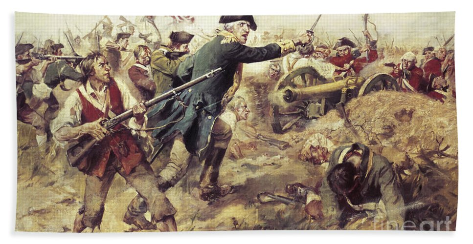 General John Stark Beach Towel featuring the painting Battle Of Bennington by Frederick Coffay Yohn