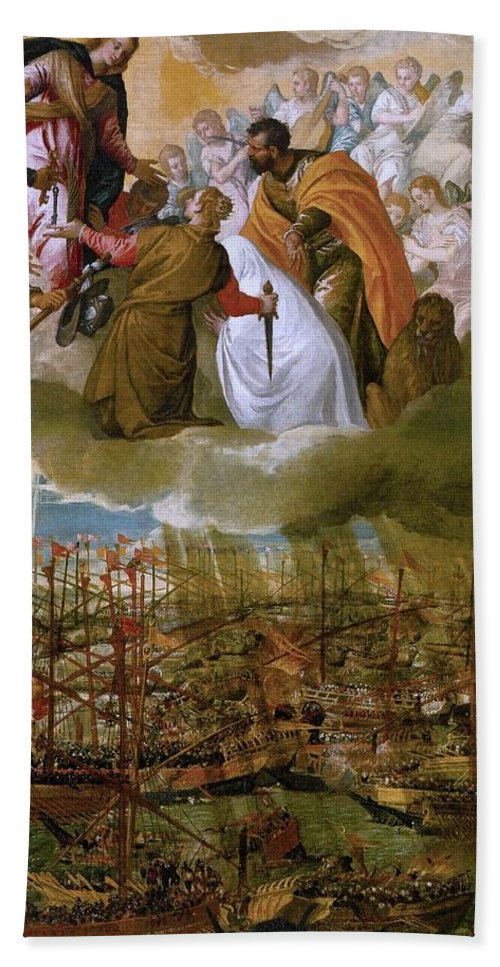 1572 Beach Towel featuring the painting Battle Of Lepanto by Paolo Veronese