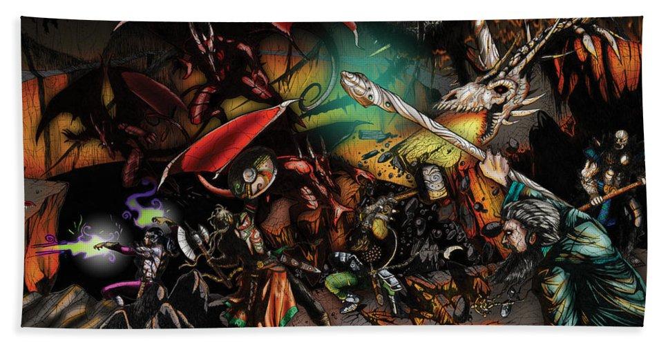 Usherwood Beach Sheet featuring the digital art Battle With The Undead Dragon by James Kramer