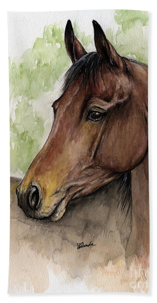 Horse Beach Towel featuring the painting Bay Horse Portrait Watercolor Painting 02 2013 A by Angel Ciesniarska