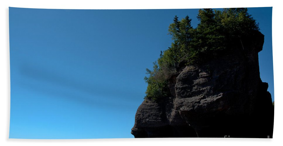 Beach Towel featuring the photograph Bay Of Fundy Landmark by Cheryl Baxter