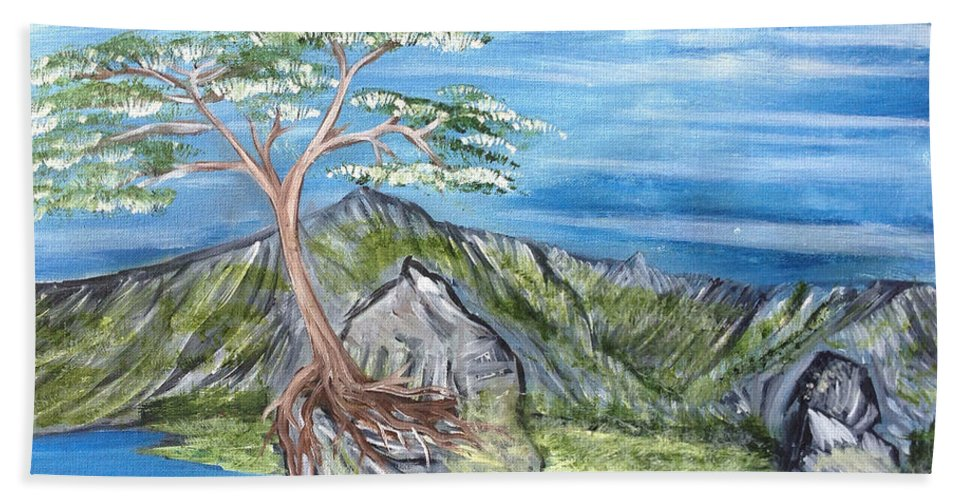 Tree Beach Towel featuring the painting Bay View In Oregon by Suzanne Surber