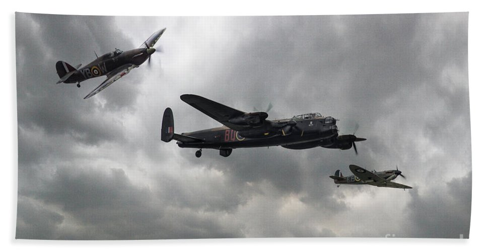 Aviation Beach Towel featuring the digital art Bbmf Lancaster Spitfire Hurricane by J Biggadike