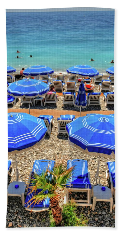 Nice Beach Towel featuring the photograph Beach At Nice France by Dave Mills