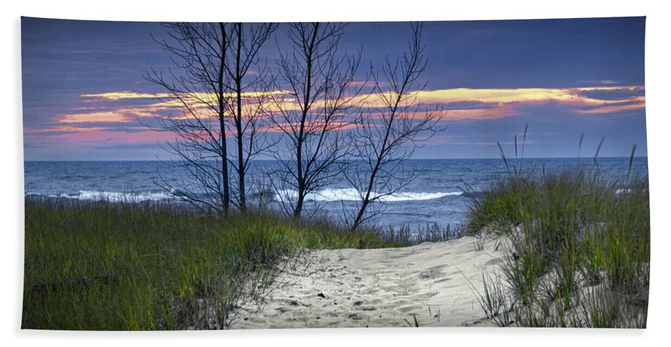 Art Beach Towel featuring the photograph Beach At Sunset By Holland Michigan No 0241 by Randall Nyhof