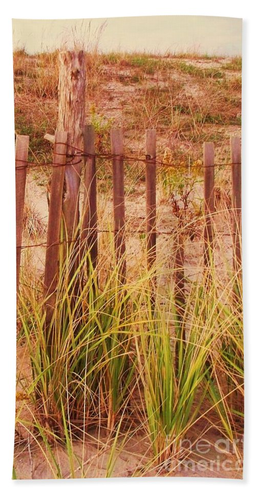 Beach Beach Towel featuring the photograph Beach Dune Fence At Cape May Nj by Eric Schiabor