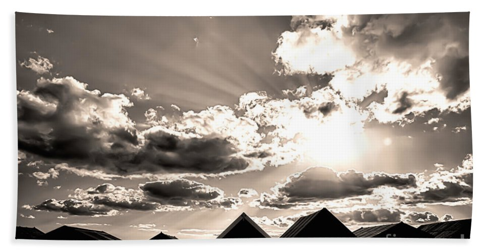 Beach Huts Beach Towel featuring the photograph Beach Huts In Black And White by Simon Bratt Photography LRPS